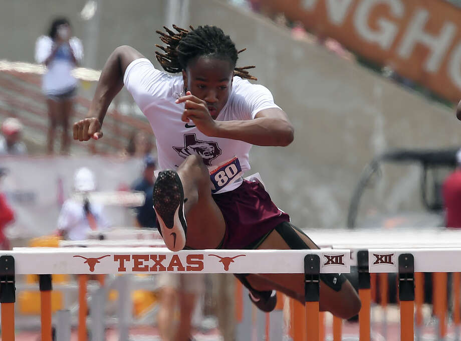 Silsbee's Darshon Turk competes in the 110 meter hurdle at the State Championships in Austin on Saturday, May 12. Turk placed fourth in the competition.  
