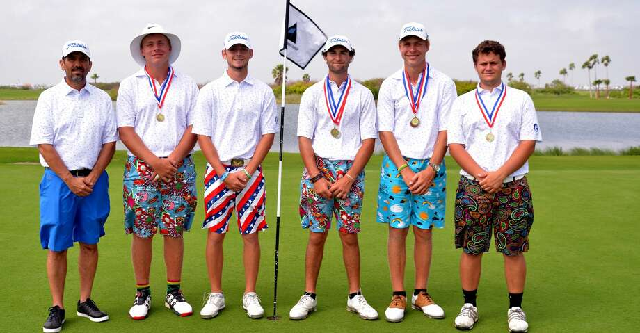 The Clear Springs golf team consists of (left to right) head coach Troy Frederick, Andre Jacobs, Alex Welch, Niko Nebout, Francois Jacobs and Jacob Hern. Photo: Submitted Photo
