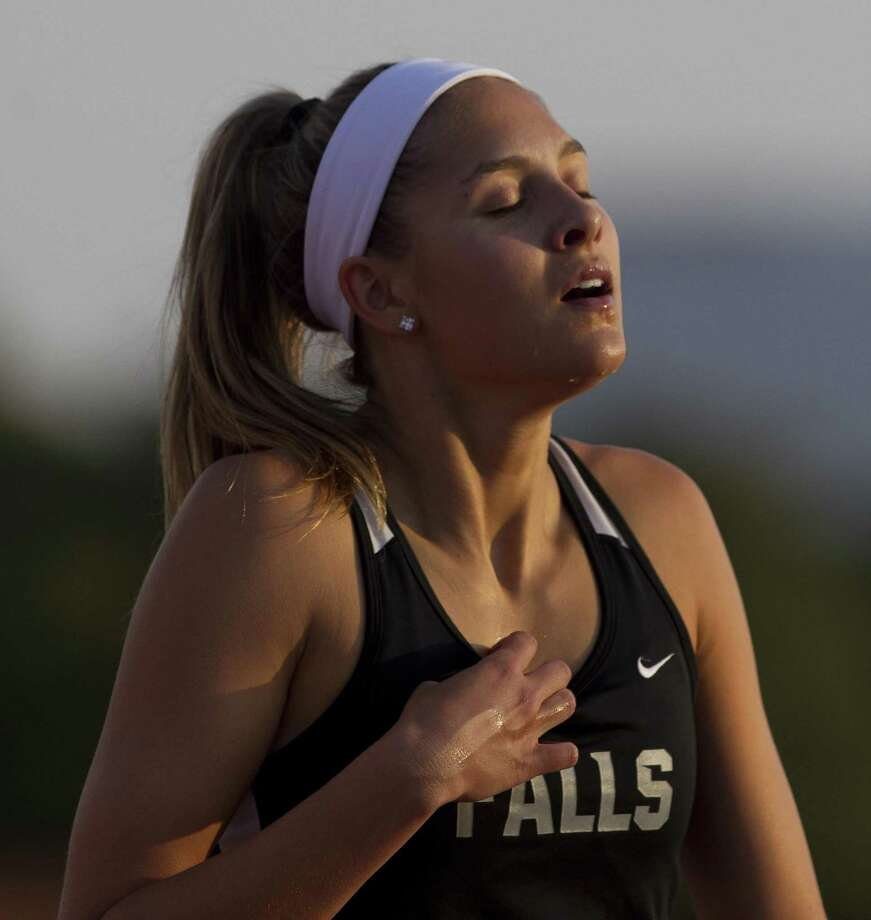 Briana Garcia of Clear Falls reacts after competing in the Class 6A girls 300-meter hurdles during the UIL State Track & Field Championships at Mike A. Myers Stadium, Saturday, May 12, 2018, in Austin. Photo: Jason Fochtman, Staff Photographer / Houston Chronicle / © 2018 Houston Chronicle