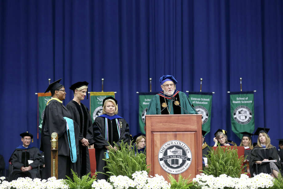 "The Sage Colleges' 101st Commencement was May 12, 2018, marking the first commencement for President Christopher Ames. Cecile Richards, activist, author of ""Make Trouble"" and former president of Planned Parentood, served as the commencement speaker. (Matt Milless) Photo: Photos Provided By Sage/Matt Milless"