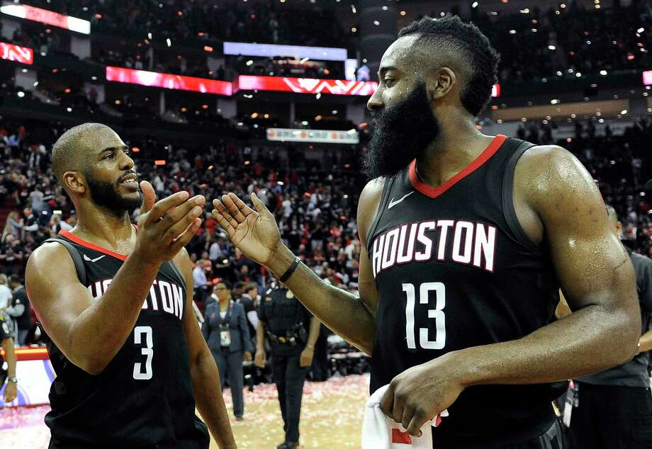 Houston Rockets guard Chris Paul (3) and James Harden celebrate the team's win over the Utah Jazz during Game 5 of an NBA basketball second-round playoff series, Tuesday, May 8, 2018, in Houston. (AP Photo/Eric Christian Smith) Photo: Eric Christian Smith, FRE / FR171023 AP
