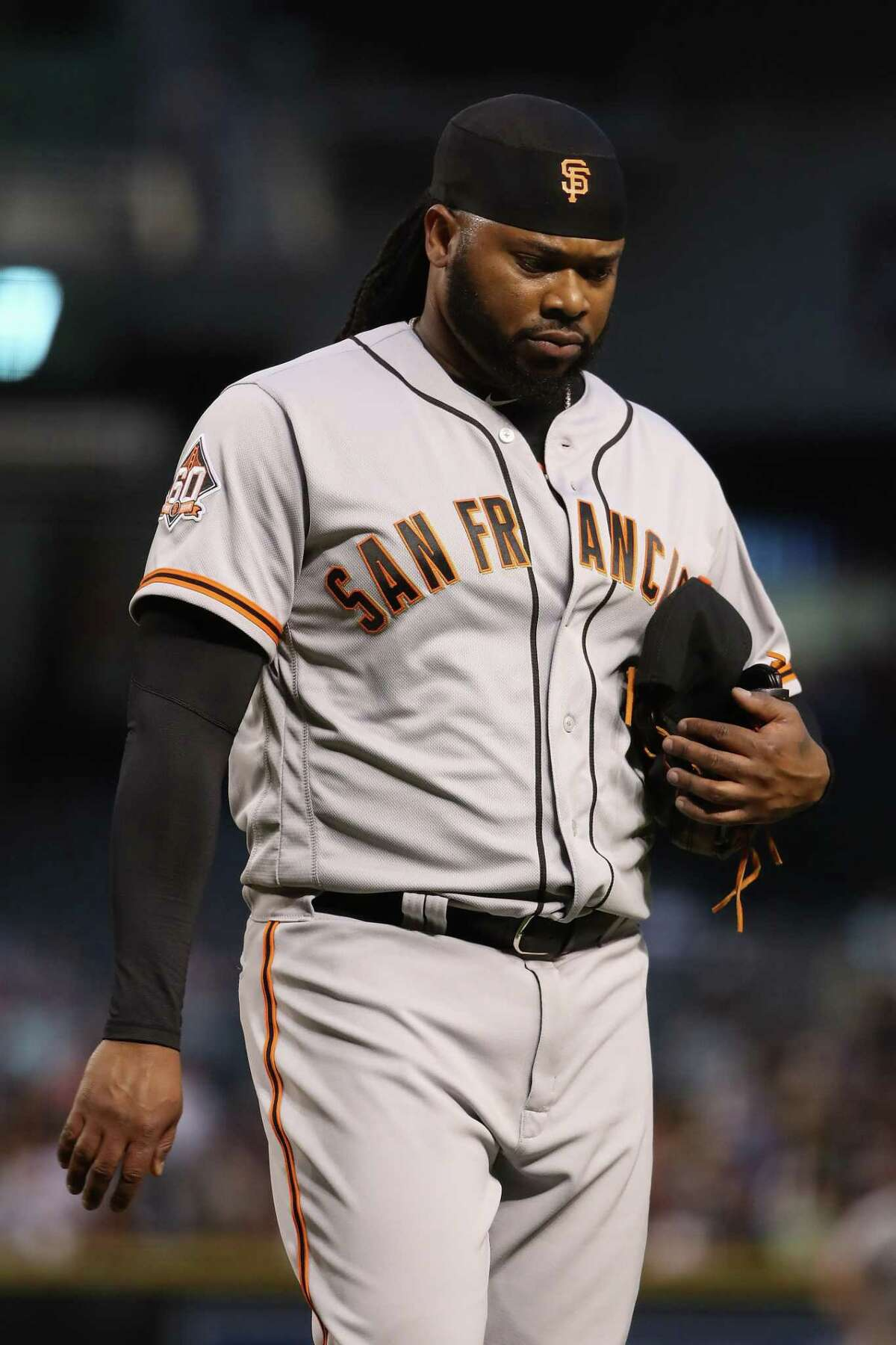 PHOENIX, AZ - APRIL 17: Starting pitcher Johnny Cueto #47 of the San Francisco Giants walks to the dugout after pitching against the Arizona Diamondbacks during the first inning of the MLB game at Chase Field on April 17, 2018 in Phoenix, Arizona. (Photo by Christian Petersen/Getty Images)