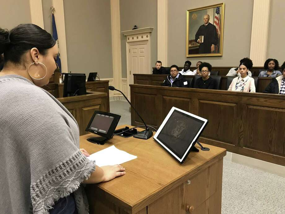 Metropolitan Business Academy student Aida Deleon makes a closing argument to a jury of her peers. Photo: Brian Zahn/Hearst Connecticut Media