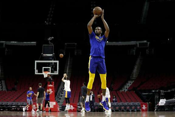 Kevin Durant (35) shoots as the Golden State Warriors practiced on Sunday ahead of the Monday's Western Conference Finals game against Houston Rockets at Toyota Center in Houston, Tex., on Sunday, May 13, 2018.