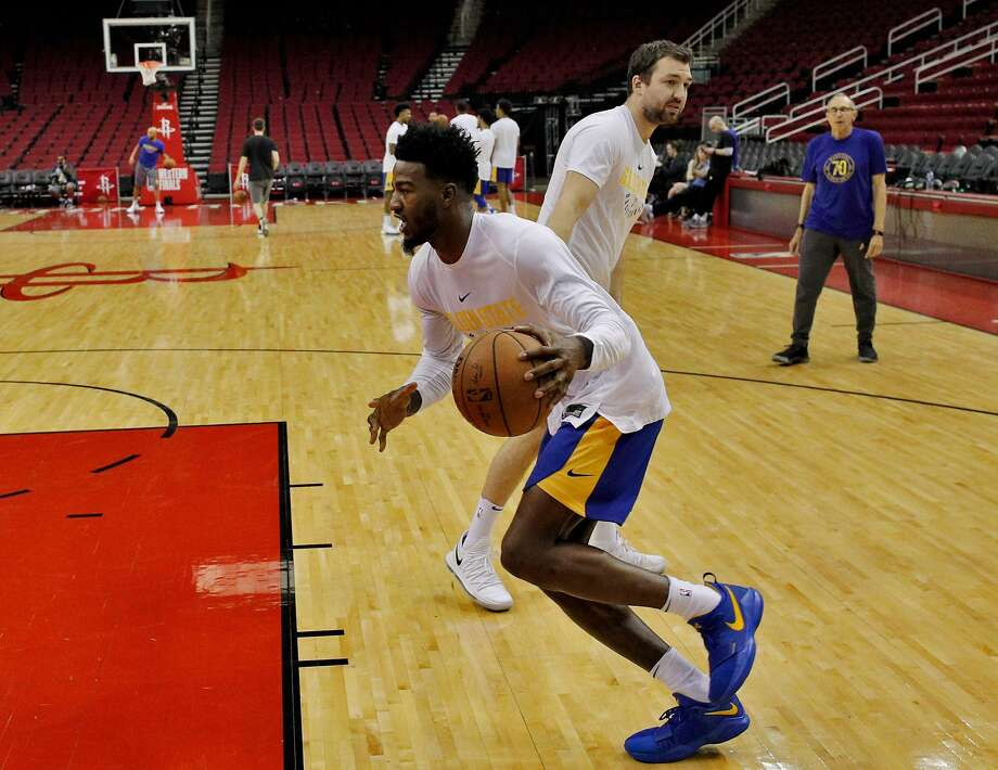 Jordan Bell (2) works with Chris DeMarco, player development coach, as the Golden State Warriors practiced on Sunday ahead of the Monday's Western Conference Finals game against Houston Rockets at Toyota Center in Houston, Tex., on Sunday, May 13, 2018. Photo: Carlos Avila Gonzalez / The Chronicle