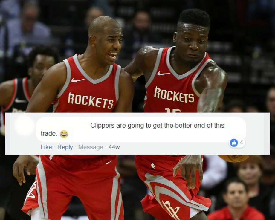 PHOTOS: Check out some of the fans' really bad opinions immediately after the Rockets traded for Chris Paul The reaction of Houston Rockets fans on Facebook immediately after the team traded seven players for Chris Paul on June 28, 2017. Browse through the photos above for a look at some of the really bad opinions fans had after the Rockets traded for Chris Paul. Photo: Wire Services (Graphic By Matt Young)