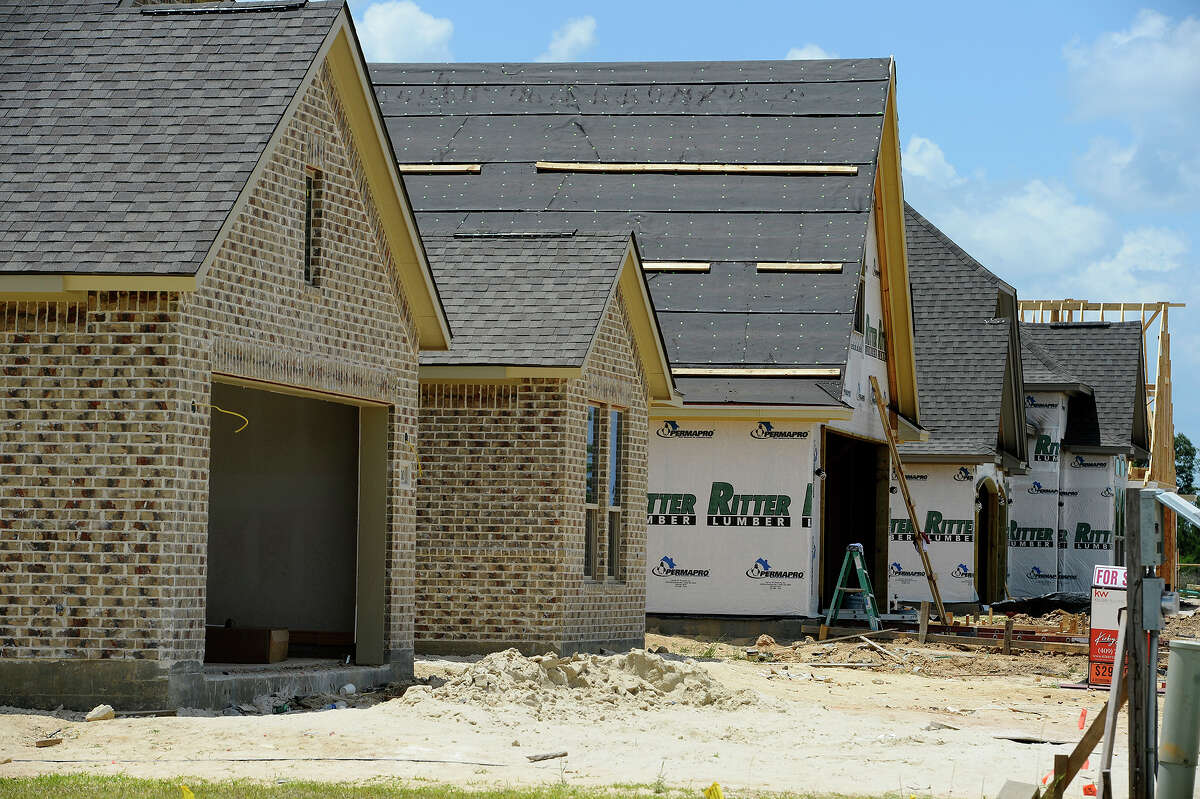 A row of houses under construction in the Copper Point subdivision in Lumberton. Photo taken Friday 5/11/18 Ryan Pelham/The Enterprise