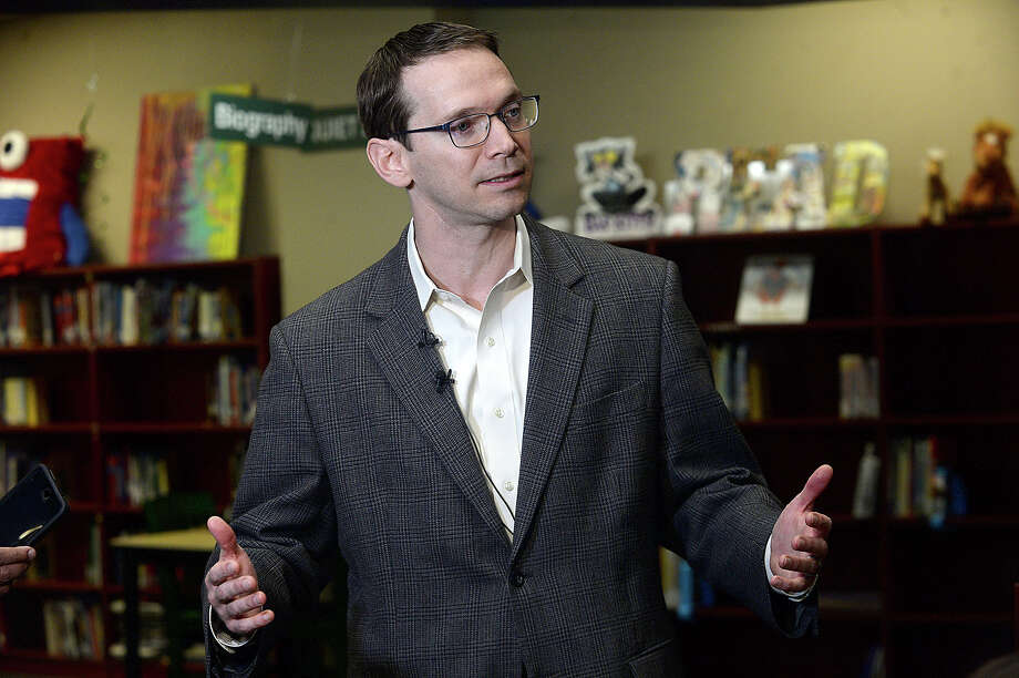 State Commissioner of Education Mike Morath offers his thoughts on the future of Beaumont schools and candidates for the BISD manager position during a press conference at Regina Howell Elementary School Friday. Morath spent the day visiting classrooms at the school and talking with teachers after a similar tour at Central High School. He also met with candidates for the manager position while in the area. Photo taken Friday, March 31, 2017 Kim Brent/The Enterprise Photo: Kim Brent / BEN