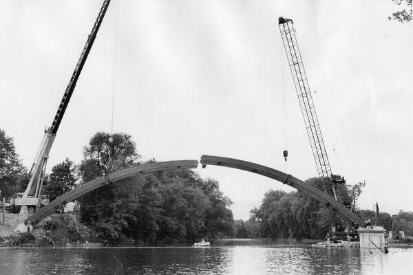 A scene from the construction of the Tridge in Midland. (Daily News file)