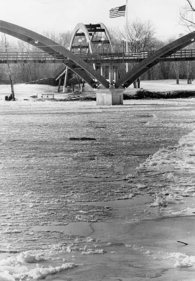 A scene from the construction of the Tridge in Midland. (Daily News file) Photo: Midland Daily News File