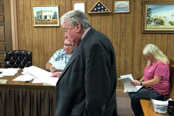 Randy Blanks of Waxman and Associates discusses the bids for the Coldspring and Shepherd senior centers during the May 9 San Jacinto County Commissioners Court.