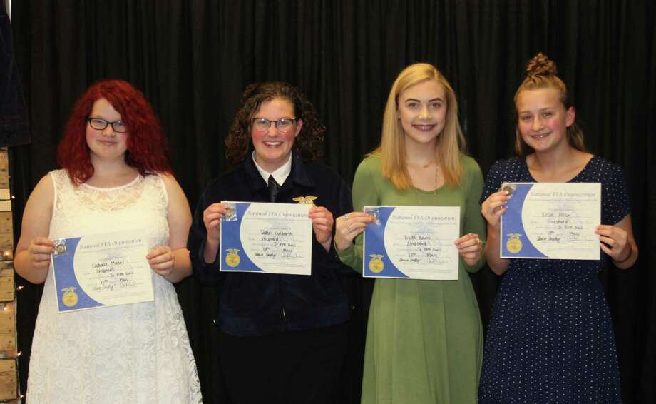 Four Shepherd High School FFA students receive awards commemorating their performance in the Jr. FFA Quiz competition. The group made it to district competition and placed 11th. Pictured left to right are Cadence Myers, Jaden Culberth, Rylee Bany and Khloe Allen. Photo: Jacob McAdams / HCN