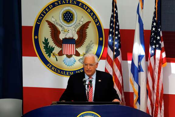 US ambassador to Israel David Friedman delivers a speech during the opening of the US embassy in Jerusalem on May 14, 2018. - The United States moved its embassy in Israel to Jerusalem after months of global outcry, Palestinian anger and exuberant praise from Israelis over President Donald Trump's decision tossing aside decades of precedent.