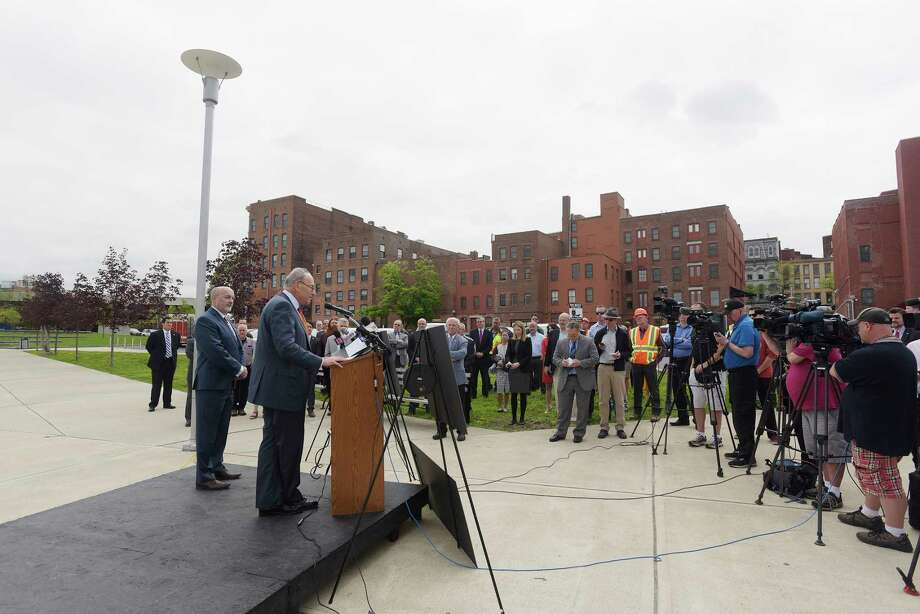 U.S. Senator Charles Schumer and Troy Mayor Patrick Madden take part in a press conference along the Hudson River at Troy Riverfront Park on Monday, May 14, 2018, in Troy, N.Y. U.S. Senator Schumer announced at the press conference that Federal funds would be used for a project to replace the aging seawall along the Hudson River. (Paul Buckowski/Times Union) Photo: PAUL BUCKOWSKI, Albany Times Union / (Paul Buckowski/Times Union)