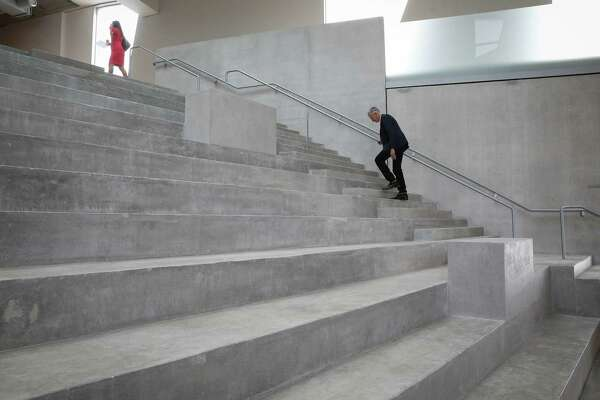 A lobby staircase is pictured during a media tour of the new Glassell School of Art in Houston, Texas on Monday, May 14, 2018. The facility opens to the public Sunday, May 20.