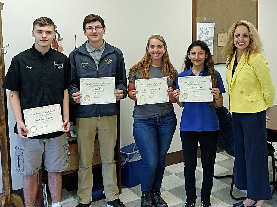 From left are Vinal Technical High School April students of the month Tony Lemire, Michael Lee, Riley McConnell and Melissa Caldeira, along with Principal Niki Menounos. Photo: Contributed Photo