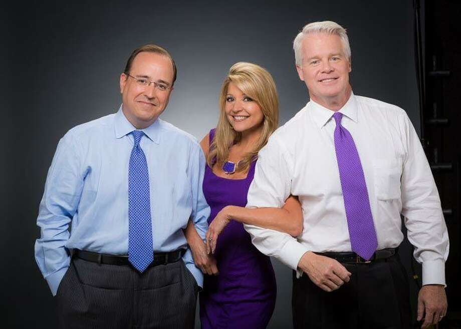 On Tuesday morning anchor Mark Austin (left) got sick right before the newscast, but Leslie Mouton held down the fort, solo anchoring until weekend anchor Max Massey stepped in. Photo: Courtesy KSAT-TV