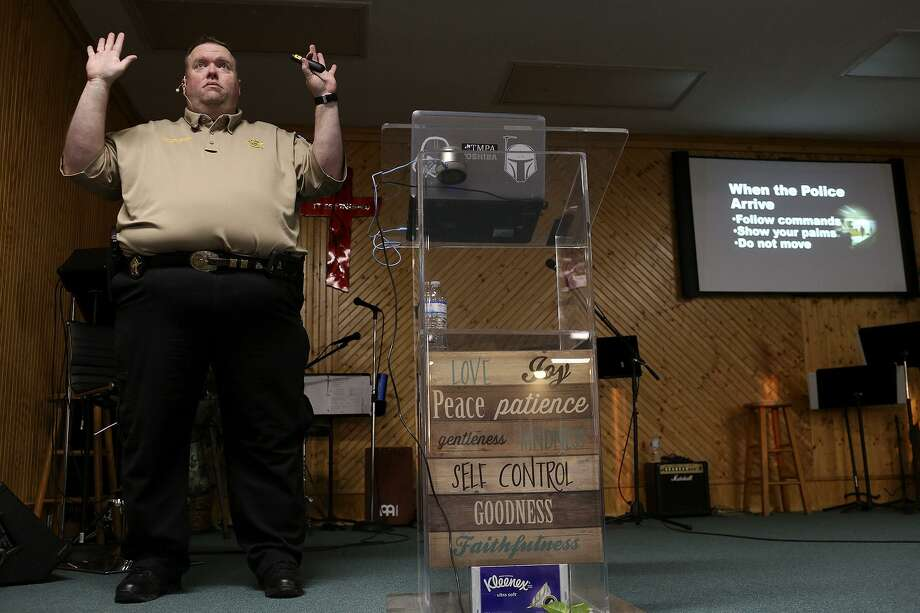 Investigator Stephen Moore of the Wilson County Sheriff's Office leads a Civilian Response to Active Shooter Events (CRASE) seminar at River Oaks Church in Sutherland Springs on March 22, 2018. Photo: Lisa Krantz / SAN ANTONIO EXPRESS-NEWS / SAN ANTONIO EXPRESS-NEWS
