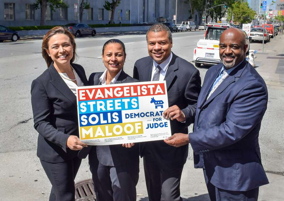 Maria Evangelista (left), Nicole Solis, Phoenix Streets and Kwixuan Maloof are all attorneys in the San Francisco public defenders office seeking to unseat the incumbent judges and, they contend, add diversity to the Superior Court bench. Photo: Handout
