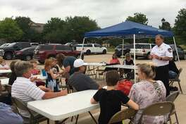 Katy Fire Chief Russell Wilson spoke to a group of Firethorne residents May 1 about the Katy Fire Department providing fire service to the community. Fort Bend County Municipal Utility District 151 is entering a contract with the department for fire protection.