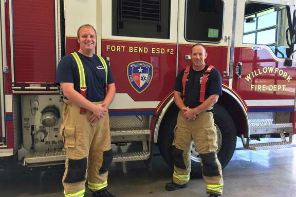The Willowfork Fire Department recently opened its third station. The station on Spring Green Boulevard just south of Katy-Flewellen was manned May 8 by firefighter/paramedic Kyle Vincent, left, and Brad Shantie, captain and emergency medical technician.