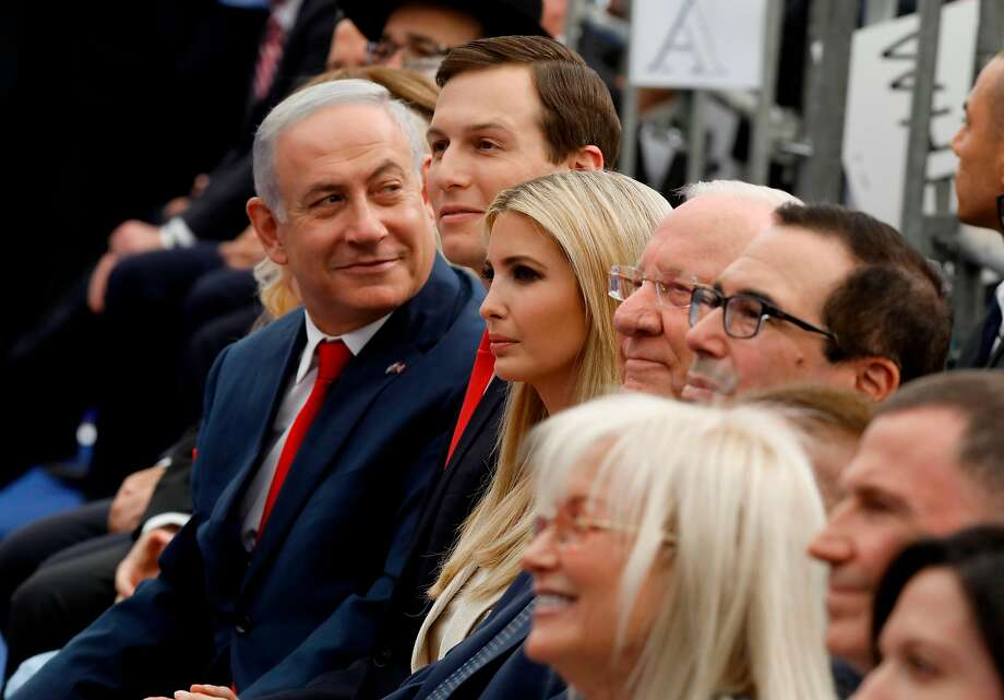 Israeli Prime Minister Benjamin Netanyahu (L), Senior White House Advisor Jared Kushner (C-R), US President's daughter Ivanka Trump (3rd R), US Treasury Secretary Steve Mnuchin (R) and Israel's President Reuven Rivlin (2nd R) attend the opening of the US embassy in Jerusalem on May 14, 2018. The United States moved its embassy in Israel to Jerusalem after months of global outcry, Palestinian anger and exuberant praise from Israelis over President Donald Trump's decision tossing aside decades of precedent. / AFP PHOTO / MENAHEM KAHANAMENAHEM KAHANA/AFP/Getty Images Photo: Menahem Kahana / AFP / Getty Images