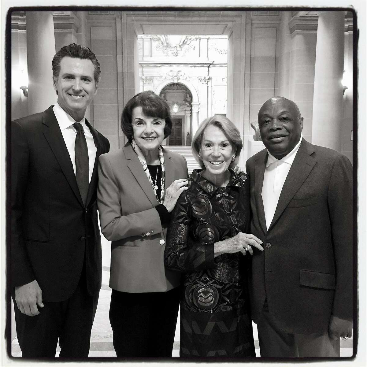 SF's Mt. Rushmore pays tribute to late Mayor Ed Lee, from left: Lt. Gov. Gavin Newsom, Sen. Dianne Feinstein, Protocol Chief Charlotte Shultz and Da Mayor Willie Brown. May 5, 2018.