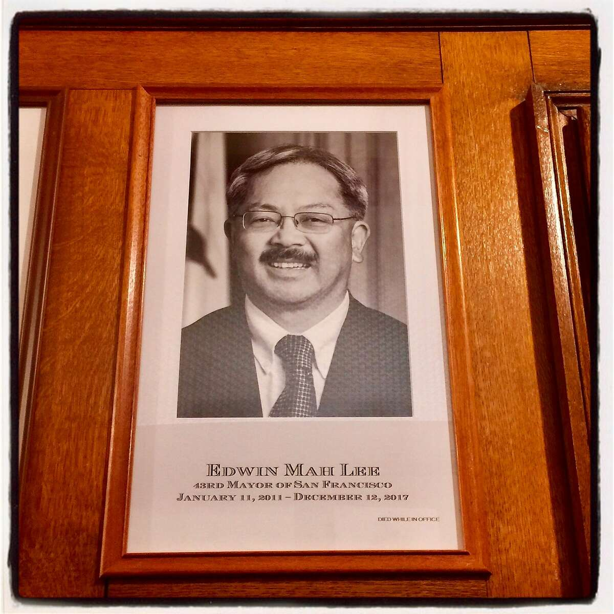 The official portrait of late Mayor Ed Lee, by photographer Gene X. Hwang, now hangs in the Hall of Mayors at City Hall. May 5, 2018.