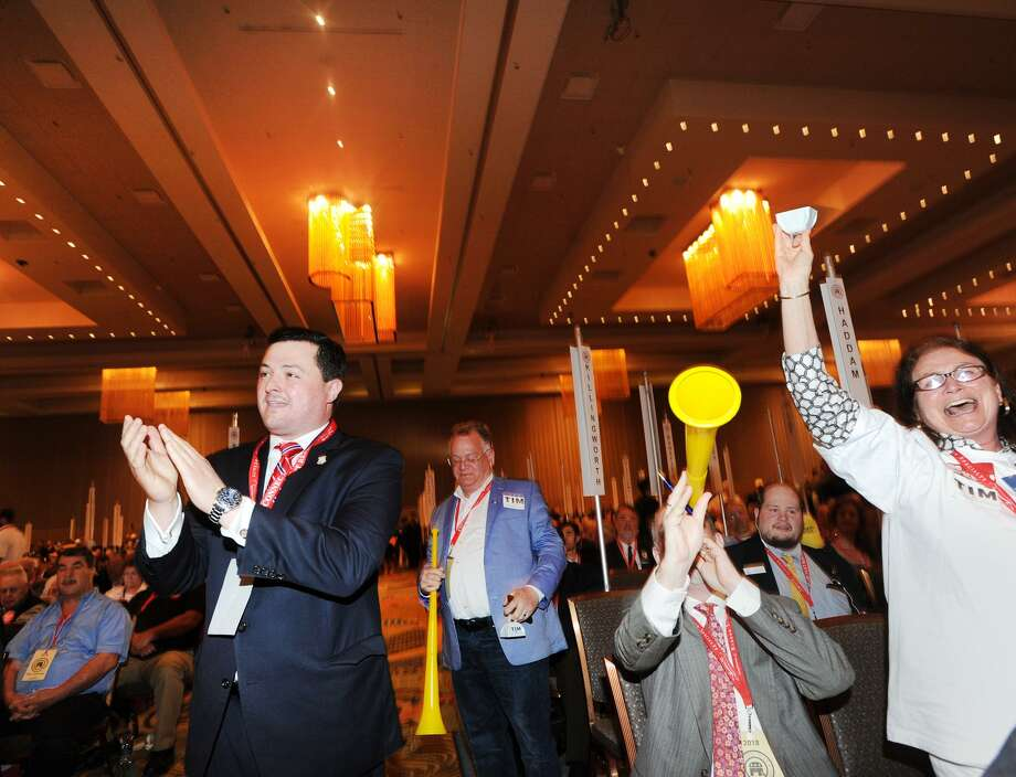 At left, Republican Tim Herbst, one of the nominees for Governor, during the Republican State Convention at Foxwoods Casino on Saturday. Herbst did not win the party endorsement, but immediately hit the campaign trail on Sunday. Photo: Bob Luckey Jr. / Hearst Connecticut Media / Greenwich Time