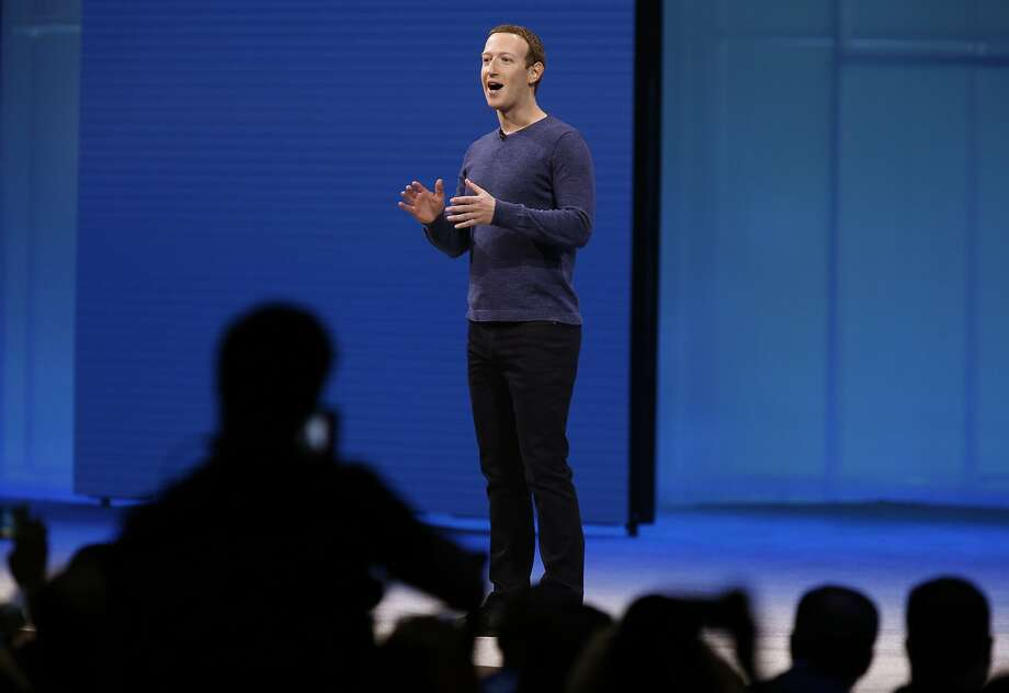 Mark Zuckerberg delivers the keynote address at the Facebook F8 developers conference in San Jose, Calif. on Tuesday, May 1, 2018. Photo: Paul Chinn, The Chronicle