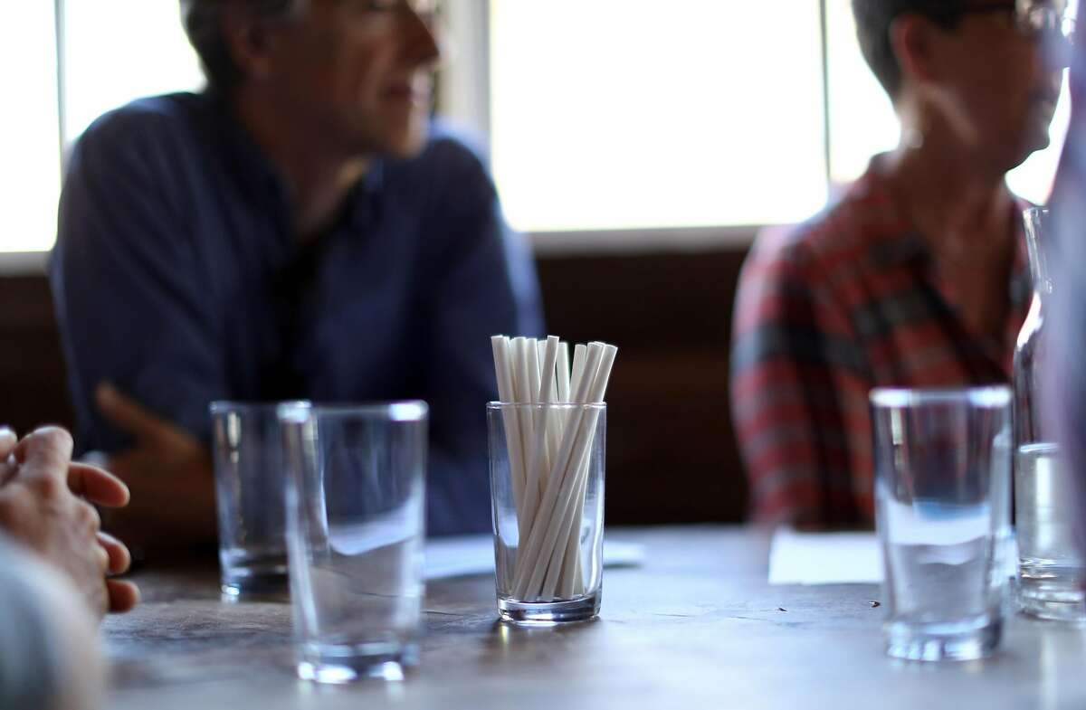 Eco-friendly straws at Outerlands in San Francisco, CA on Friday, May 11, 2018.
