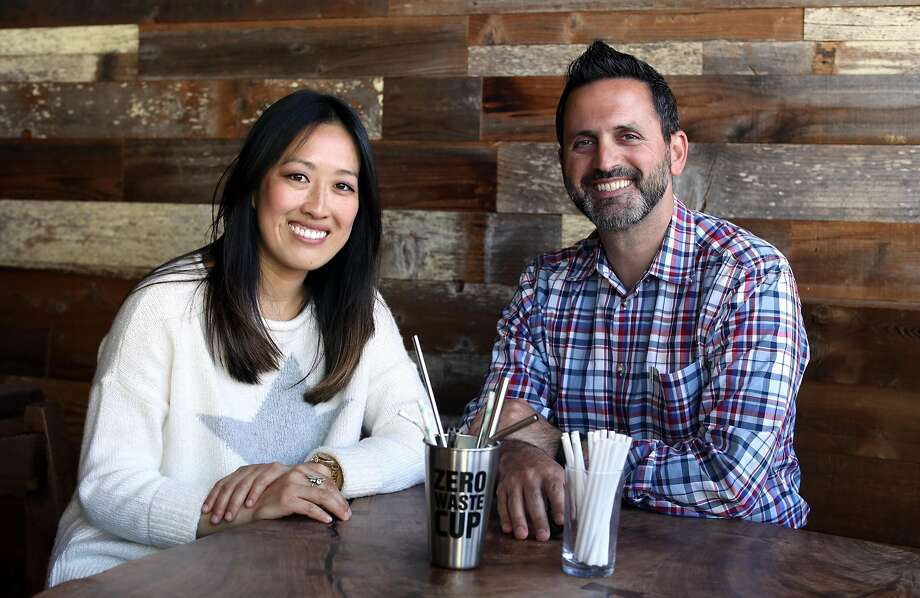 Supervisors Katy Tang (left) and Ahsha Safaí are co-sponsoring legislation that would impose strict limits on the use of plastic straws in San Francisco. Photo: Photos By Scott Strazzante / The Chronicle