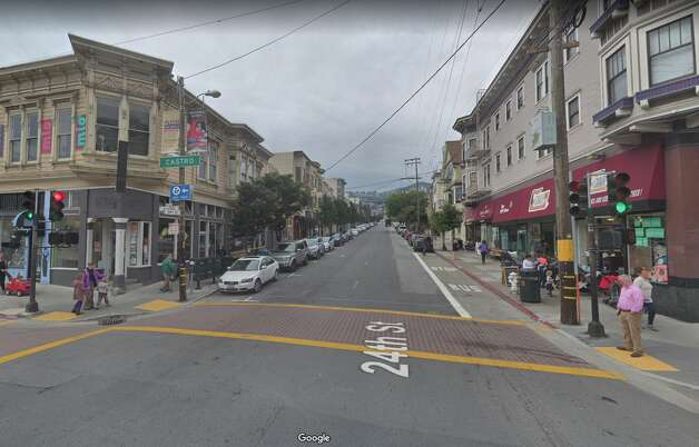 Castro and 24th is now rail-less, the domain of Muni buses instead of cable cars. Photo: Google Street View
