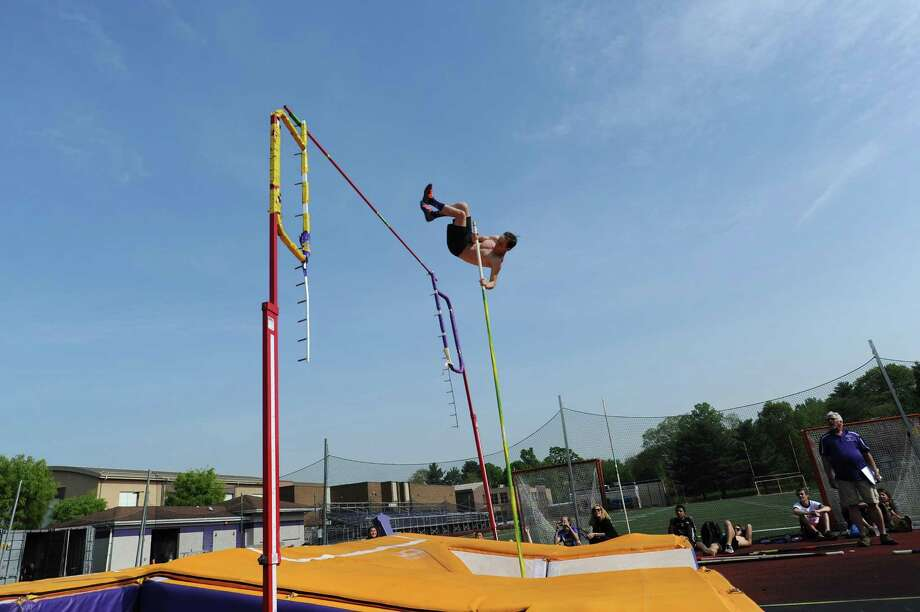 Westhill pole-vaulter Josh Appel, 18, attempts to jump the crossbar at its highest setting during a field meet between Stamford High and Westhill High at Westhill High School in Stamford, Conn. on Monday, May 14, 2018. Appel is ranked third in the state for the sport. Photo: Michael Cummo / Hearst Connecticut Media / Stamford Advocate