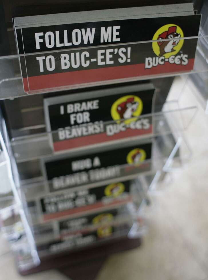 Bumper stickers are seen inside Buc-ee's convenience store/gas station on Sunday, Oct. 5, 2008, in Pearland. ( Julio Cortez / Chronicle )