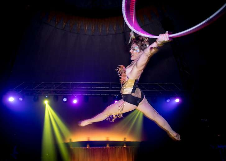 """Erin """"Shredder"""" performing an aerial hoop act at Airpusher Collective's 5th Annual Steampunk Masquerade."""