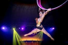 "Erin ""Shredder"" performing an aerial hoop act at Airpusher Collective's 5th Annual Steampunk Masquerade."