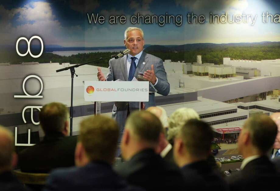 Tom Caulfield, CEO, Globalfoundries, addresses those gathered at an event at GlobalFoundries on Monday, May 7, 2018, in Malta, N.Y.  (Paul Buckowski/Times Union) Photo: PAUL BUCKOWSKI / (Paul Buckowski/Times Union)