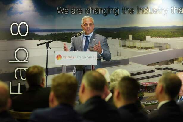 Tom Caulfield, CEO, Globalfoundries, addresses those gathered at an event at GlobalFoundries on Monday, May 7, 2018, in Malta, N.Y.  (Paul Buckowski/Times Union)