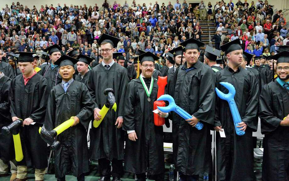 Hudson Valley Community College automotive technology services graduates take their place in the McDonough Sports Complex for Commencement Saturday May 12, 2018 in Troy, NY.  (John Carl D'Annibale/Times Union) Photo: John Carl D'Annibale / 20043760A