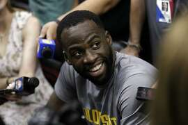 Draymond Green (23) talks with reporters during a morning shoot around before the Golden State Warriors played the Houston Rockets in Game 1 of the Western Conference Finals at Toyota Center in Houston, Texas., on Monday, May 14, 2018.