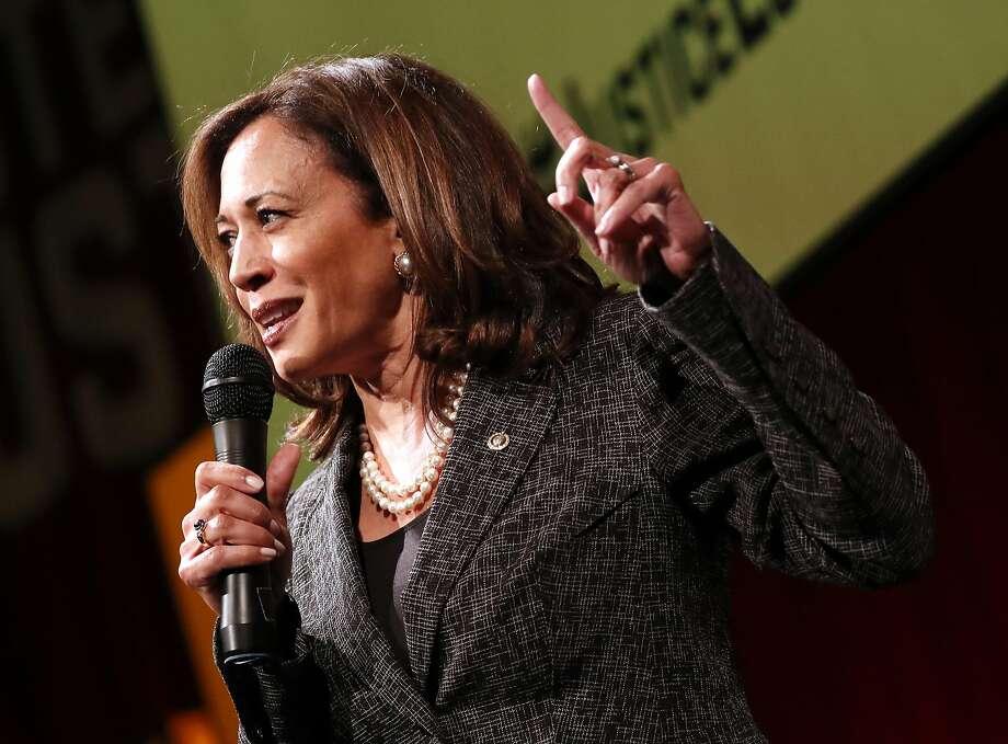 Sen. Kamala Harris, D-Calif., at an event in Washington, D.C., on May 9. Photo: Paul Morigi / Associated Press