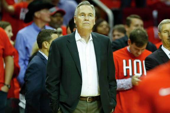 Houston Rockets head coach Mike D'Antoni listens during introductions before Game 1 of the NBA Western Conference Finals at Toyota Center on Monday, May 14, 2018, in Houston.