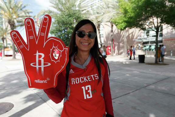 Houston Rockets fans line up outside before the start of Game 1 of an NBA Western Conference Final at the Toyota Center, Monday, May 14, 2018, in Houston.