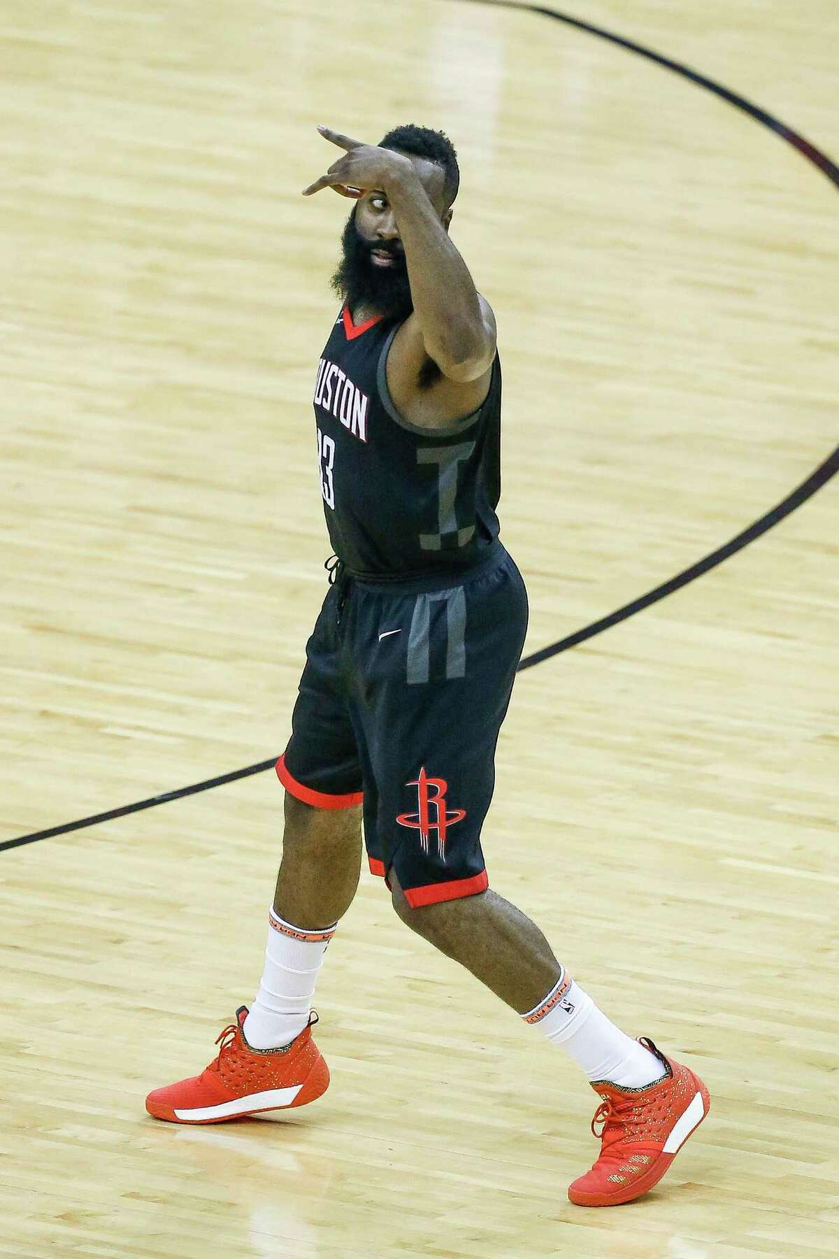 Houston Rockets guard James Harden (13) reacts after hitting a three-pointer during the first half of Game 1 of the Western Conference Finals at the Toyota Center Monday, May 14, 2018 in Houston.