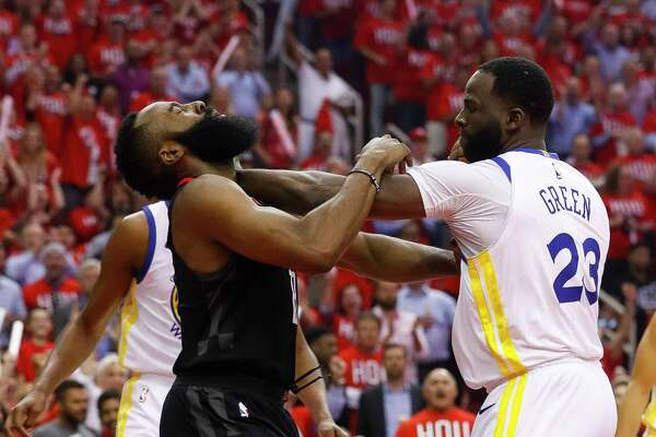 813a588d92c5 1of2Golden State Warriors forward Draymond Green (23) pushes Houston  Rockets guard James Harden (13) during the first half in Game 1 of the NBA  Western ...
