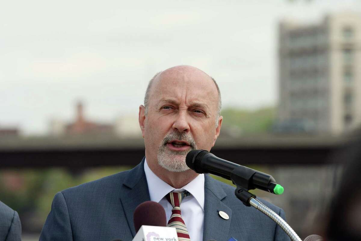 Troy Mayor Patrick Madden addresses those gathered for a press conference at Troy Riverfront Park on Monday, May 14, 2018, in Troy, N.Y. U.S. Senator Charles Schumer announced at the press conference that Federal funds would be used for a project to replace the aging seawall along the Hudson River. (Paul Buckowski/Times Union)