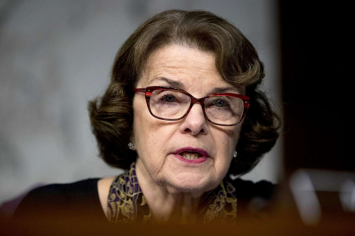FILE - In this Oct. 31, 2017 file photo, U.S. Sen. Dianne Feinstein, D-Calif., speaks during a Senate Committee on the Judiciary, Subcommittee on Crime and Terrorism hearing on Capitol Hill in Washington. Feinstein is being challenged for her seat by fellow Democrat, state Sen. Kevin de Leon, in the upcoming California Primary election. (AP Photo/Andrew Harnik, File)