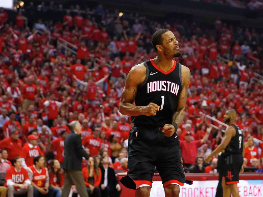 Houston Rockets forward Trevor Ariza (1) reacts during the first half in Game 1 of the NBA Western Conference Finals at Toyota Center on Monday, May 14, 2018, in Houston. Photo: Brett Coomer, Houston Chronicle / © 2018 Houston Chronicle