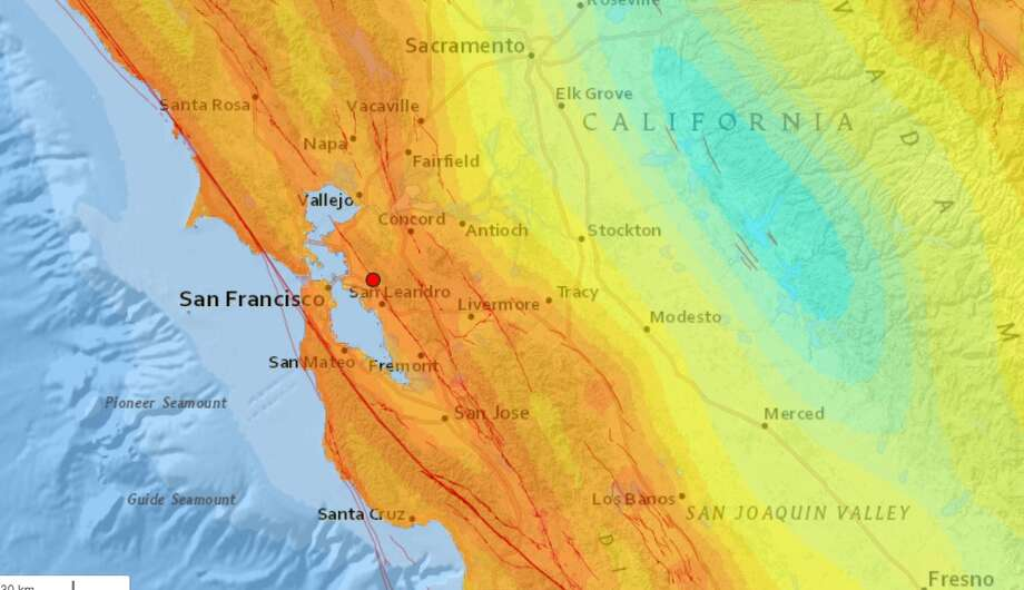 An earthquake with a preliminary magnitude of 3.8 struck the Oakland area Monday evening.